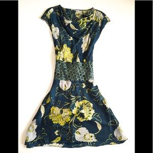 Josie Natori Floral Print Silk Dress